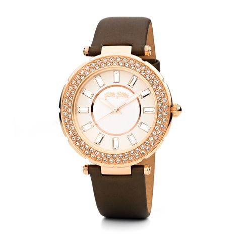 6067461889 Γυναικείο δερμάτινο ρολόι FOLLI FOLLIE BEAUTIME καφέ (1498405.0-00k1 ...