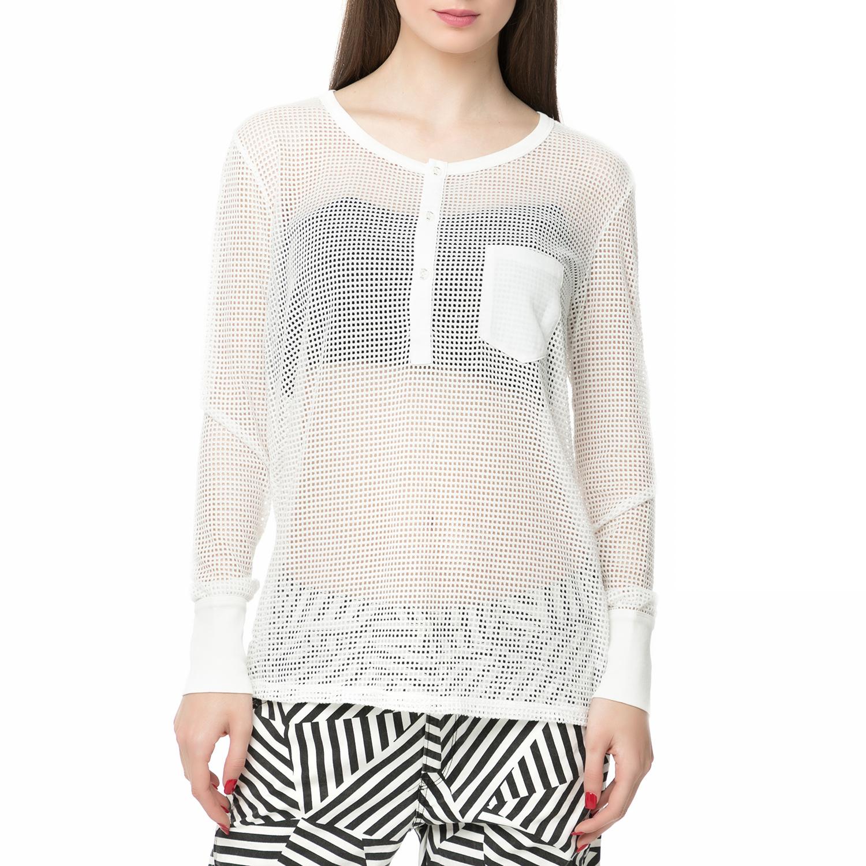 d5525192ccad G-STAR RAW – Γυναικεία μακρυμάνικη μπλούζα Zalow straight granddad λευκή με  διάτρητο σχέδιο