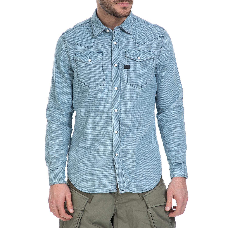 G-STAR RAW - Ανδρικό μακρυμάνικο πουκάμισο G-Star Raw Tacoma γαλάζιο καρό ανδρικά ρούχα πουκάμισα μακρυμάνικα