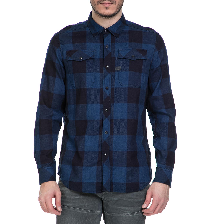 ee9ef44154f3 G-STAR RAW - Ανδρικό μακρυμάνικο πουκάμισο G-Star Raw Landoh καρό σκούρο  μπλε