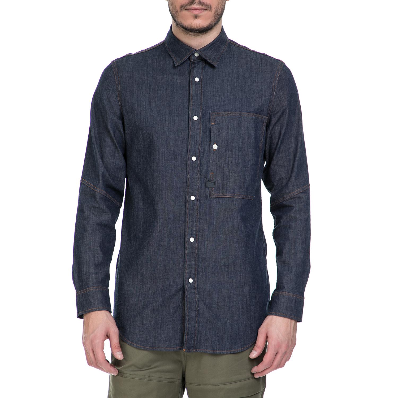 G-STAR RAW - Ανδρικό μακρυμάνικο τζιν πουκάμισο G-Star Raw Stalt μπλε ανδρικά ρούχα πουκάμισα μακρυμάνικα