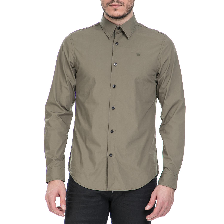 G-STAR RAW - Ανδρικό μακρυμάνικο πουκάμισο G-Star Raw CORE χακί ανδρικά ρούχα πουκάμισα μακρυμάνικα