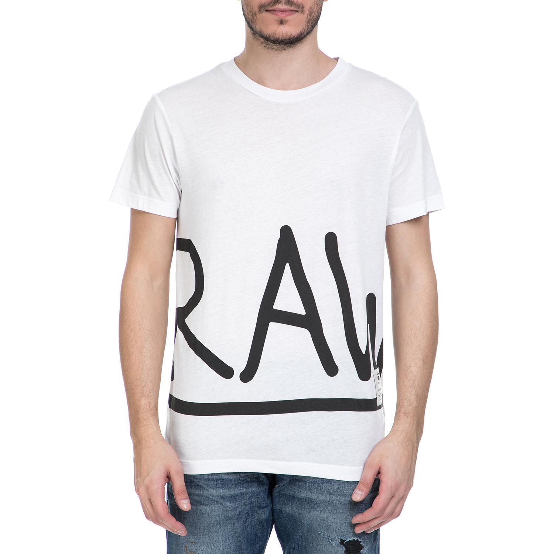 G-STAR RAW - Ανδρική κοντομάνικη μπλούζα G-Star Raw Manes zoomed λευκή - μαύρη ανδρικά ρούχα μπλούζες κοντομάνικες