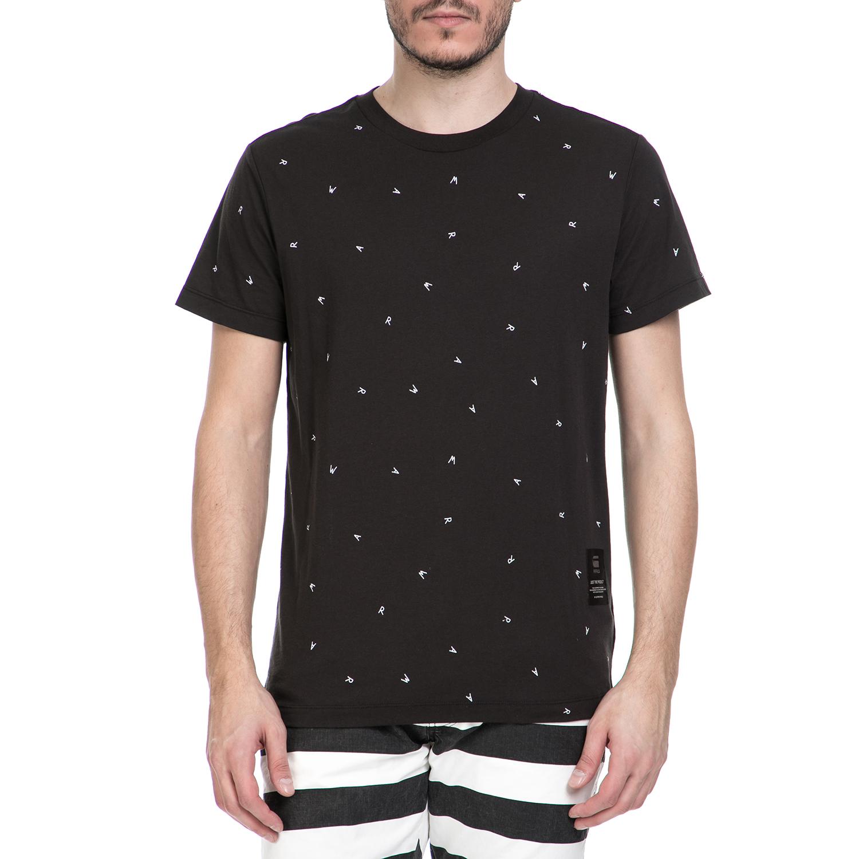 G-STAR RAW - Κοντομάνικη μπλούζα G-STAR RAW μαύρη με μοτίβο ανδρικά ρούχα μπλούζες κοντομάνικες