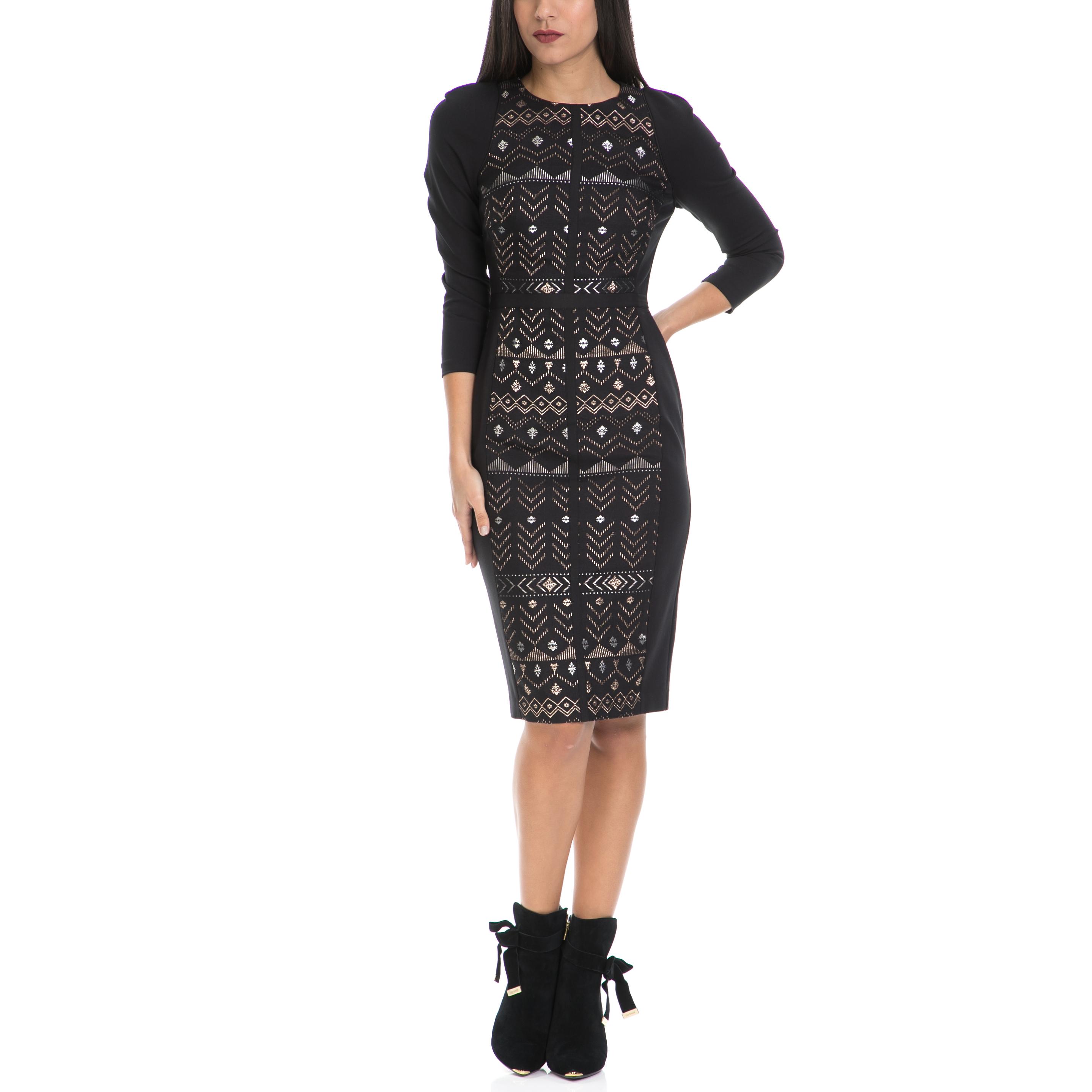 TED BAKER - Γυναικείο φόρεμα MILEAE TED BAKER μαύρο γυναικεία ρούχα φορέματα μέχρι το γόνατο
