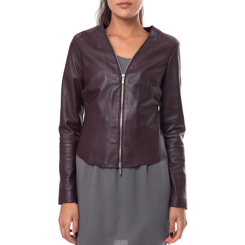 ARMA MAYS & ROSE - Γυναικείο μπουφάν Arma μπορντό γυναικεία ρούχα πανωφόρια δερμάτινα τζάκετς
