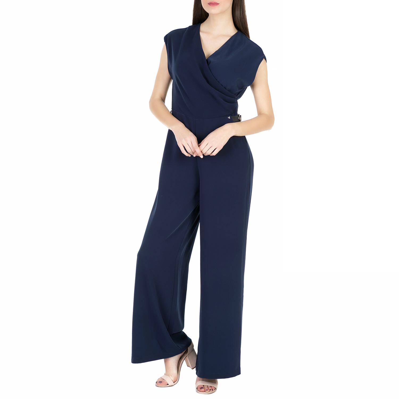 GUESS - Γυναικεία κρουαζέ ολόσωμη φόρμα Guess PERLA NEW OPTICAL μπλε γυναικεία ρούχα ολόσωμες φόρμες