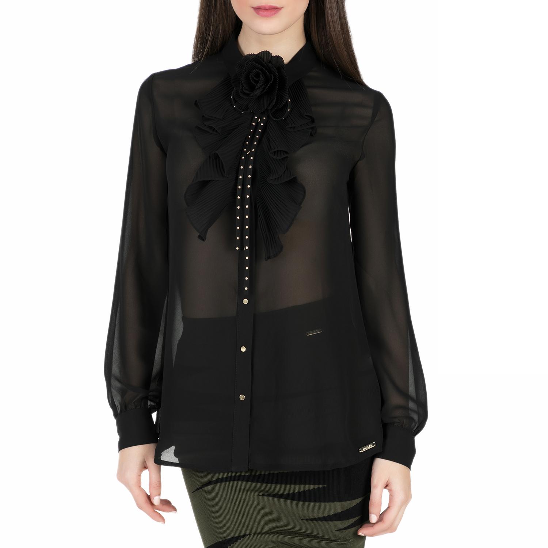 GUESS – Γυναικείο μακρυμάνικο πουκάμισο Guess GINETTE μαύρο ημιδιαφανές