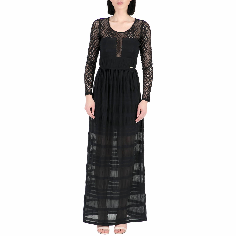 GUESS - Γυναικείο μάξι φόρεμα Guess KYARA μαύρο γυναικεία ρούχα φορέματα μάξι