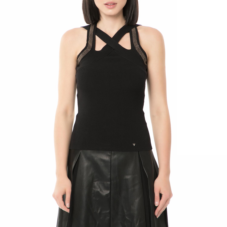 GUESS - Γυναικείο τοπ GUESS SWEATER - BANDAGE LACE μαύρο γυναικεία ρούχα μπλούζες τοπ