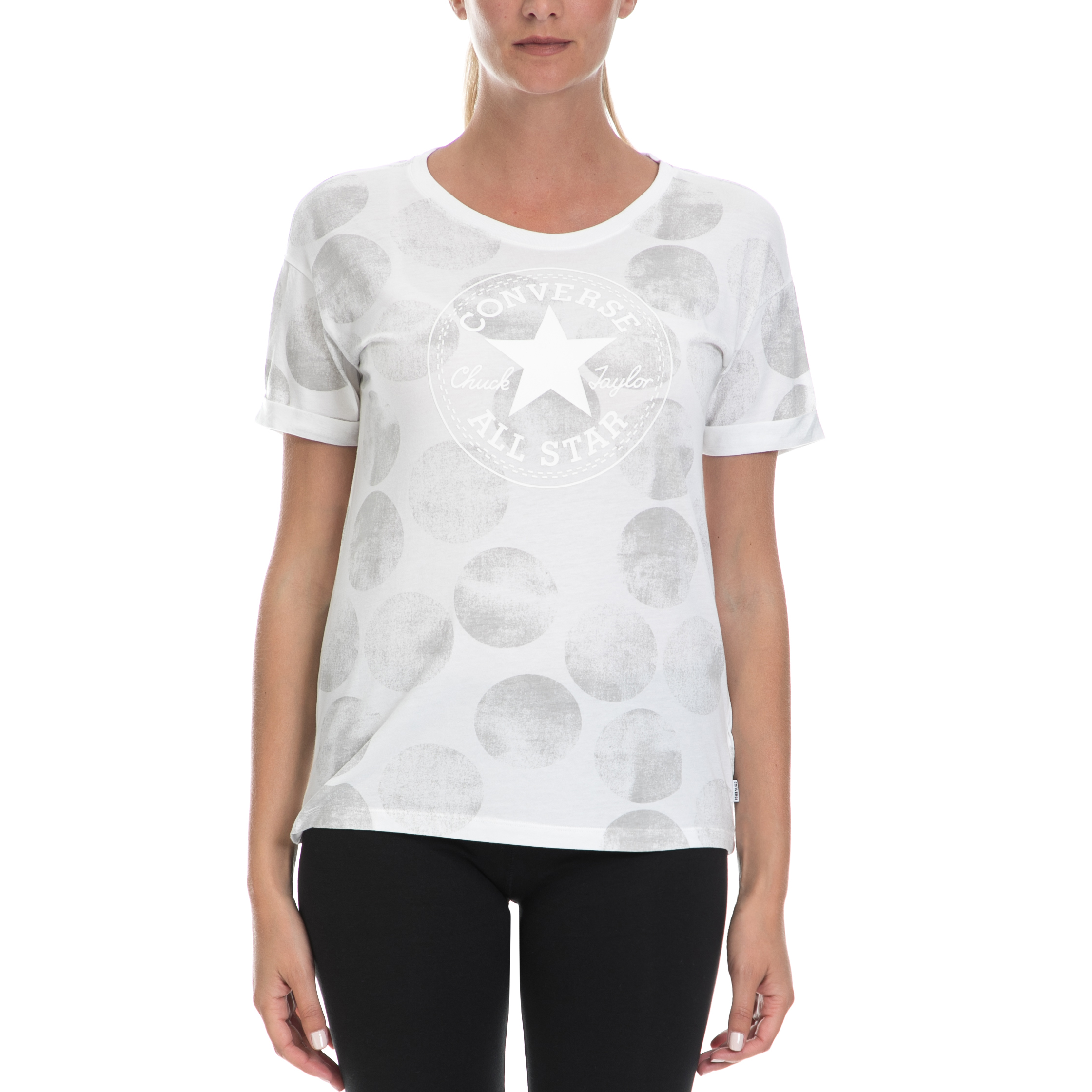 CONVERSE - Γυναικεία μπλούζα CONVERSE λευκή γυναικεία ρούχα αθλητικά t shirt τοπ