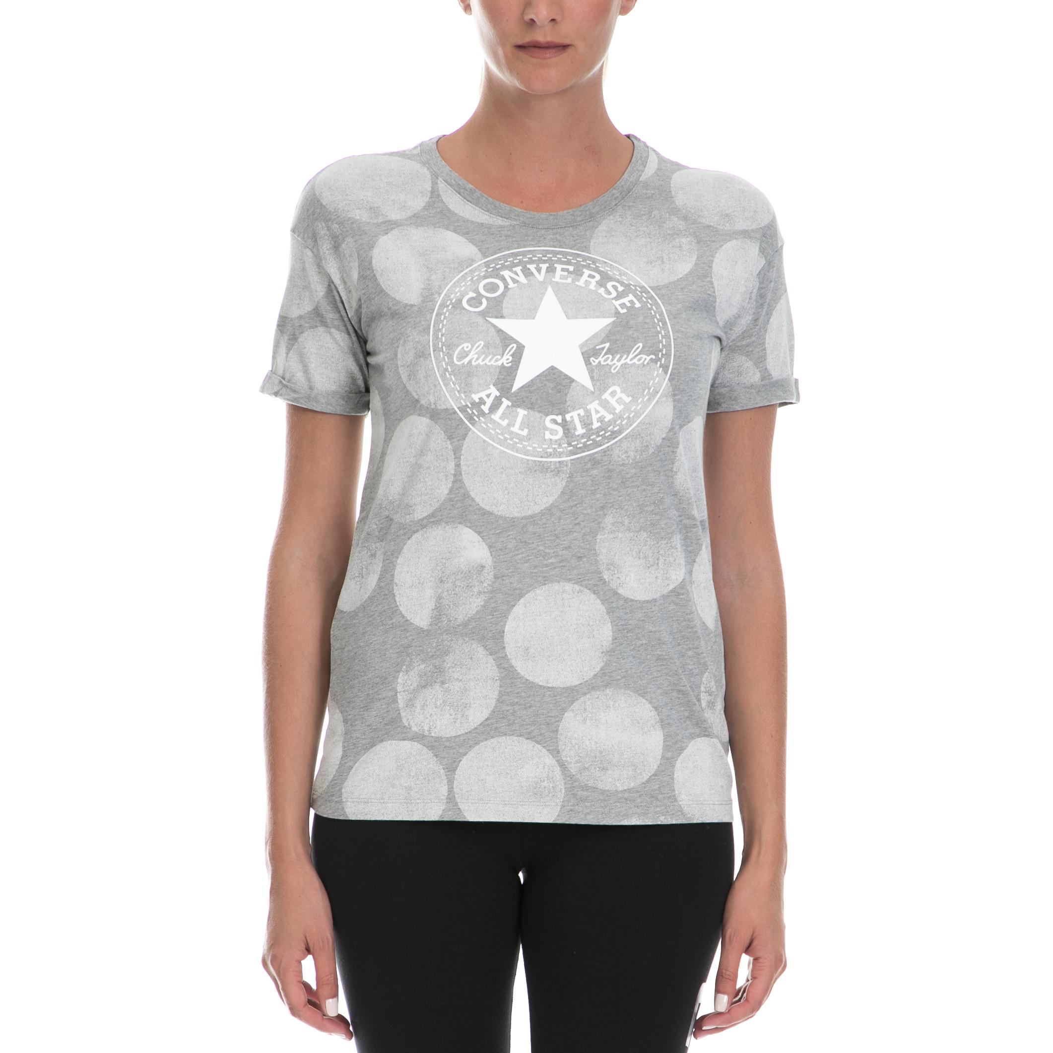 CONVERSE - Γυναικεία μπλούζα CONVERSE γκρι γυναικεία ρούχα αθλητικά t shirt τοπ
