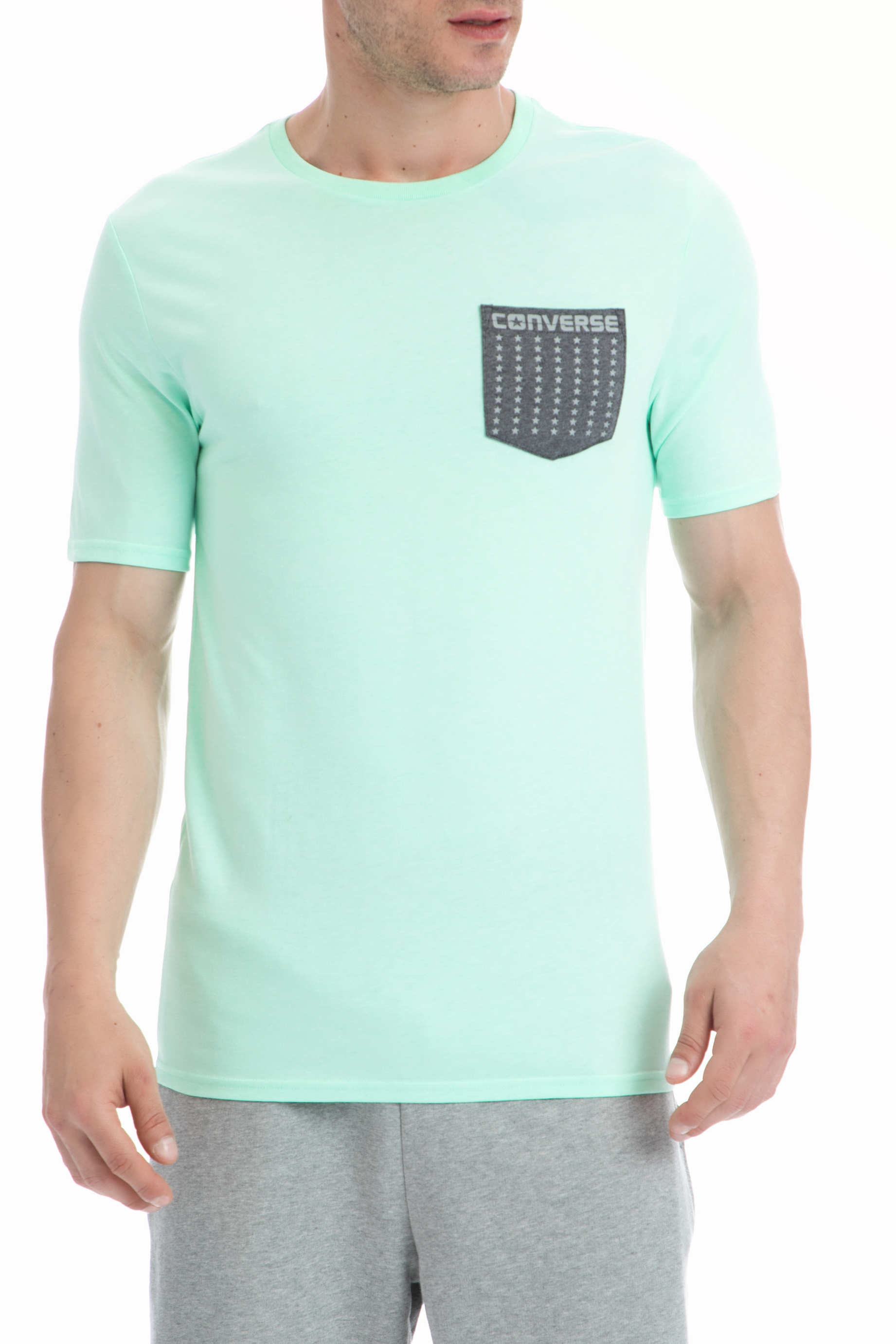 CONVERSE - Ανδρική μπλούζα Converse πράσινη ανδρικά ρούχα αθλητικά t shirt