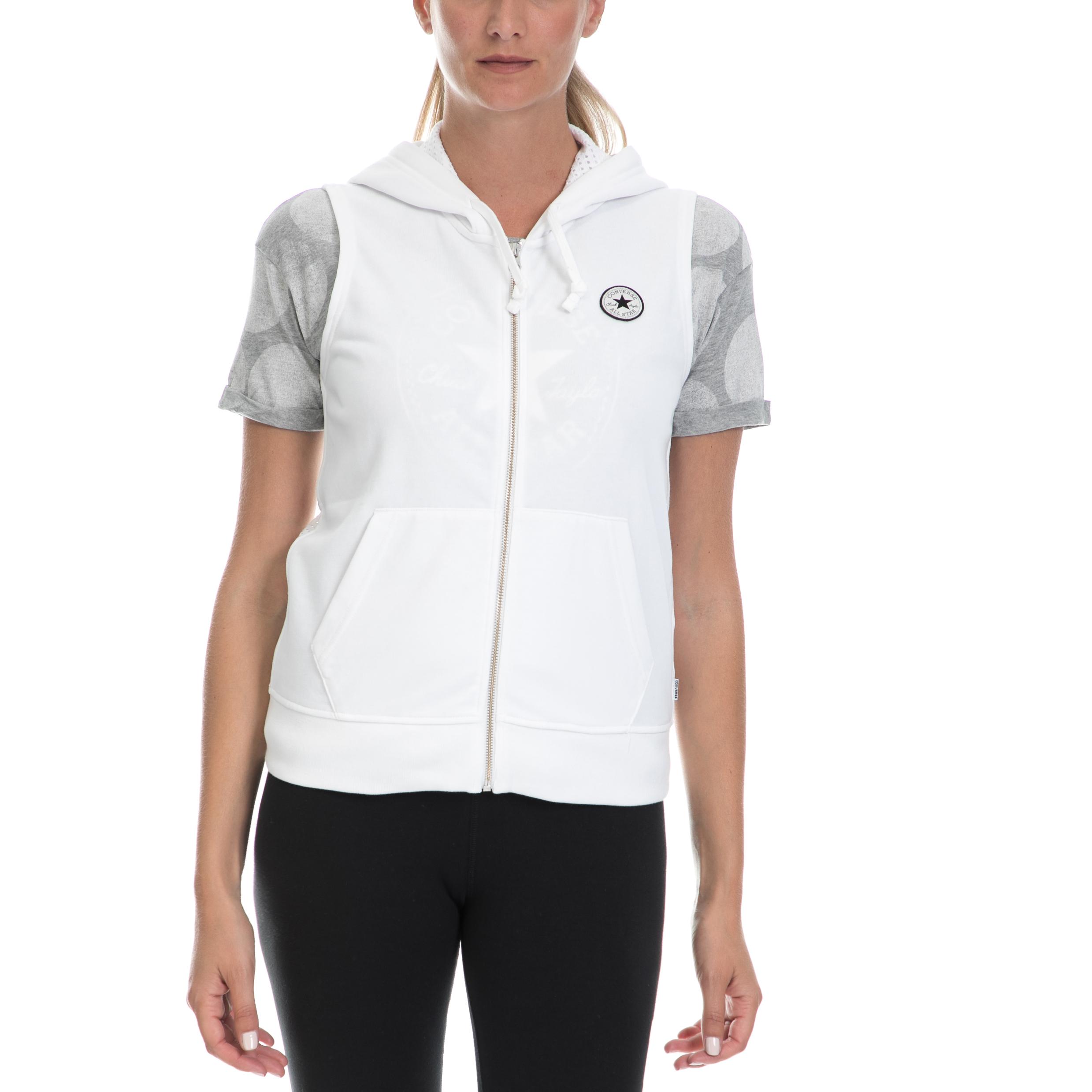 CONVERSE - Γυναικεία ζακέτα CONVERSE άσπρη γυναικεία ρούχα αθλητικά φούτερ μακρυμάνικα