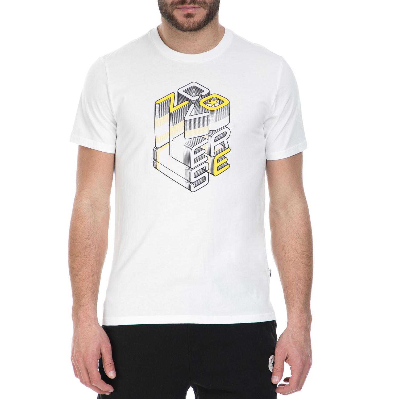 CONVERSE - Ανδρική κοντομάνικη μπλούζα CONVERSE λευκή ανδρικά ρούχα αθλητικά t shirt