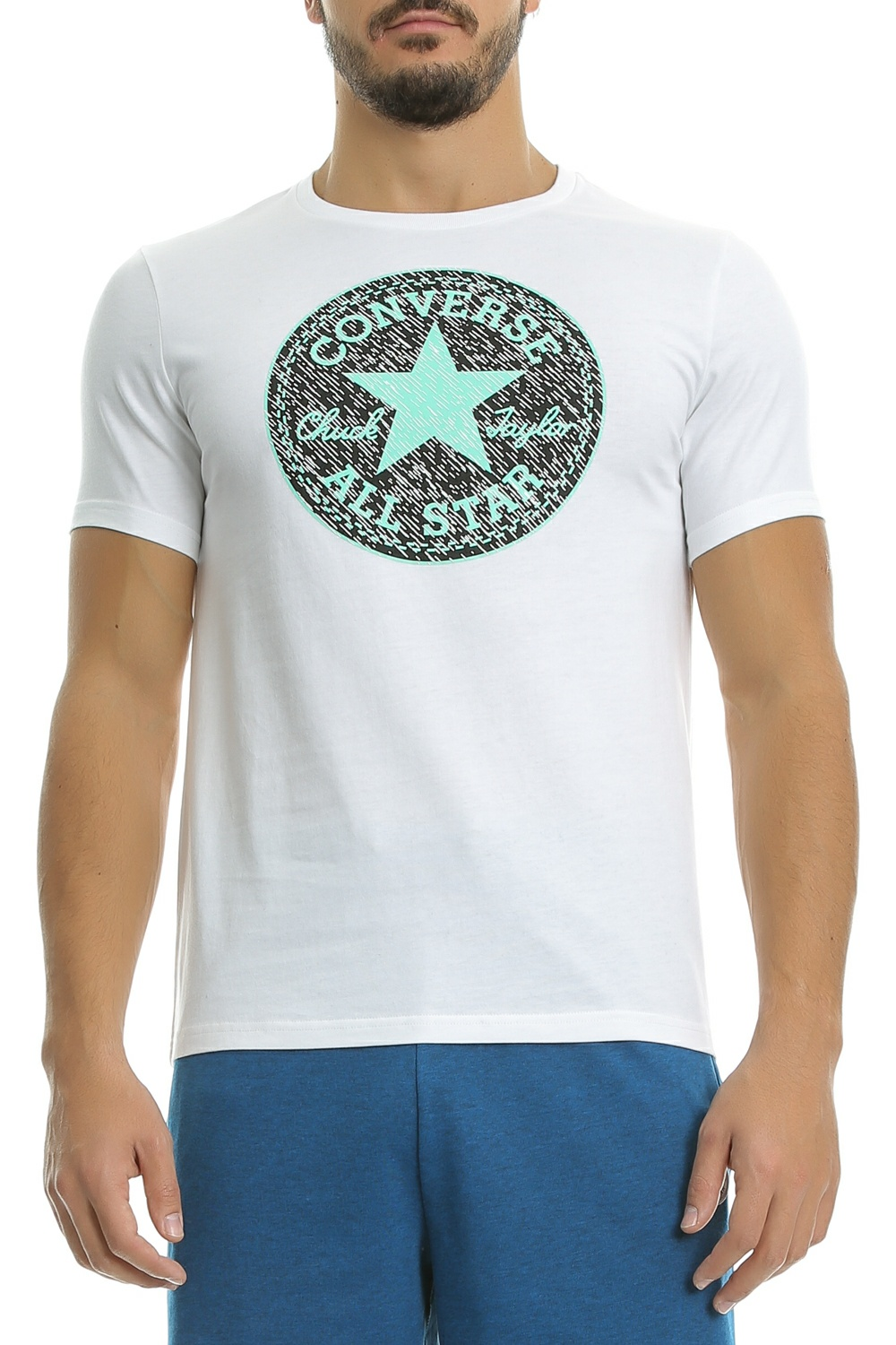 CONVERSE - Ανδρική μπλούζα CP Knit Texture Fill tee λευκή ανδρικά ρούχα αθλητικά t shirt