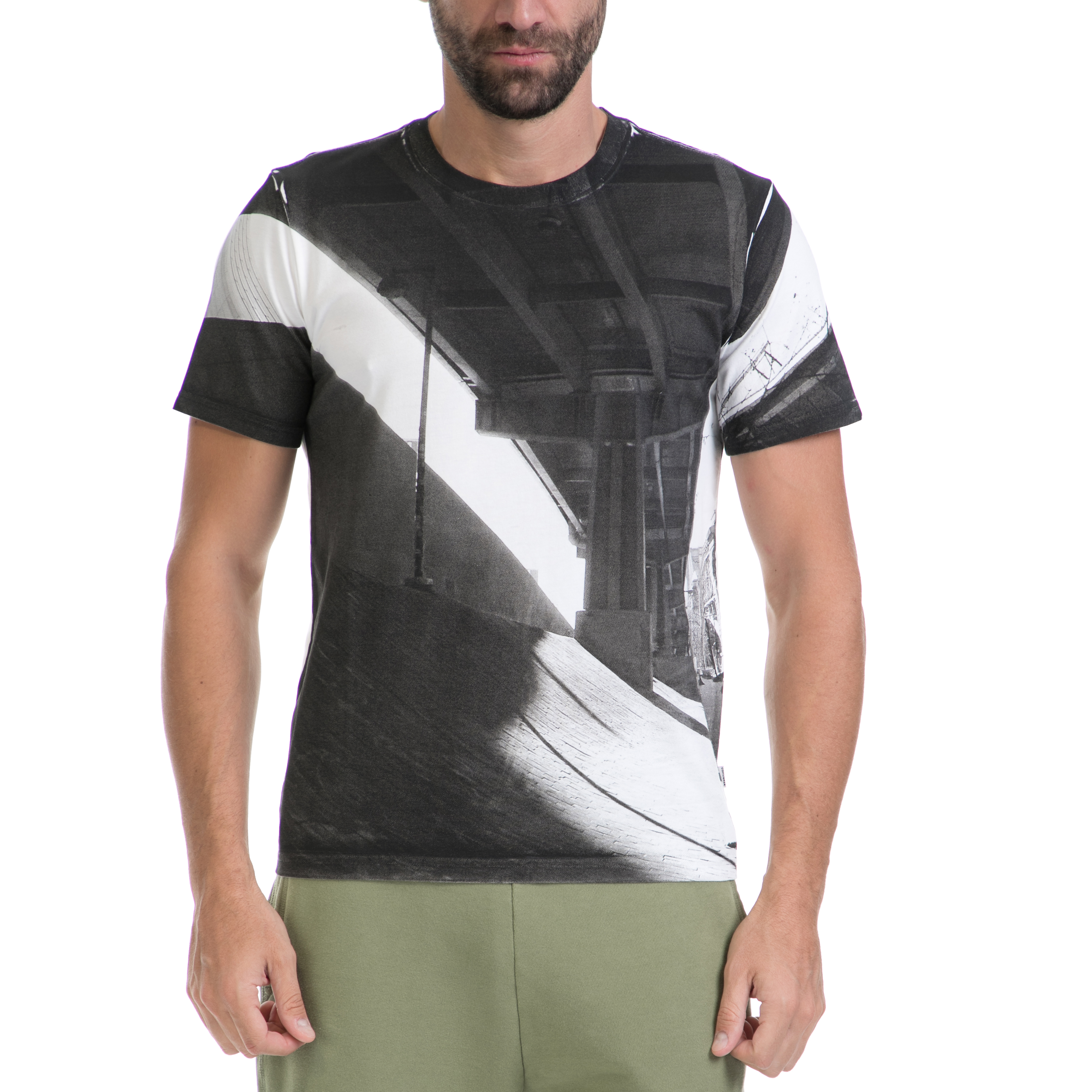 CONVERSE - Αντρική μπλούζα CONVERSE ασπρόμαυρη ανδρικά ρούχα αθλητικά t shirt