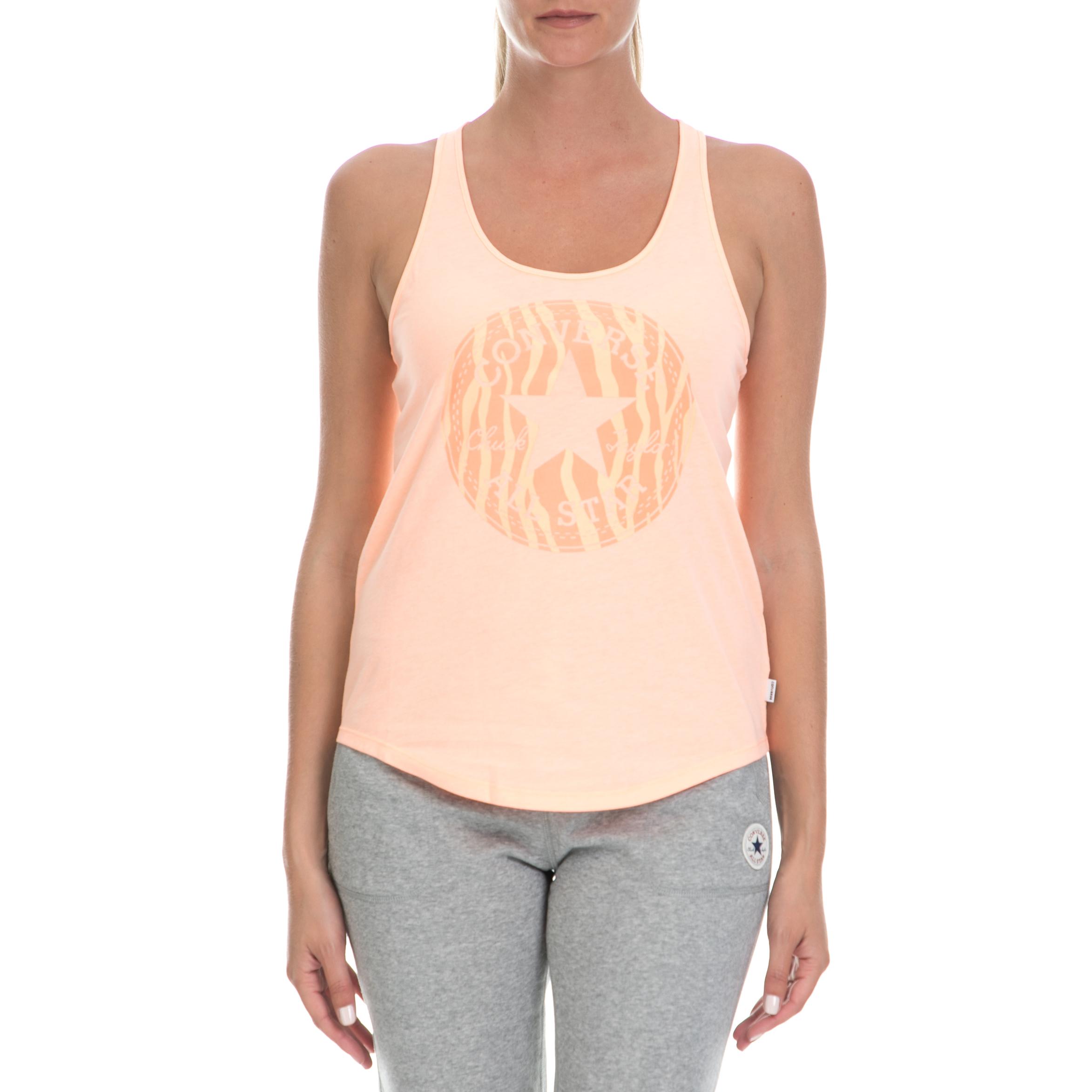 CONVERSE - Γυναικεία μπλούζα CONVERSE πορτοκαλί γυναικεία ρούχα αθλητικά t shirt τοπ