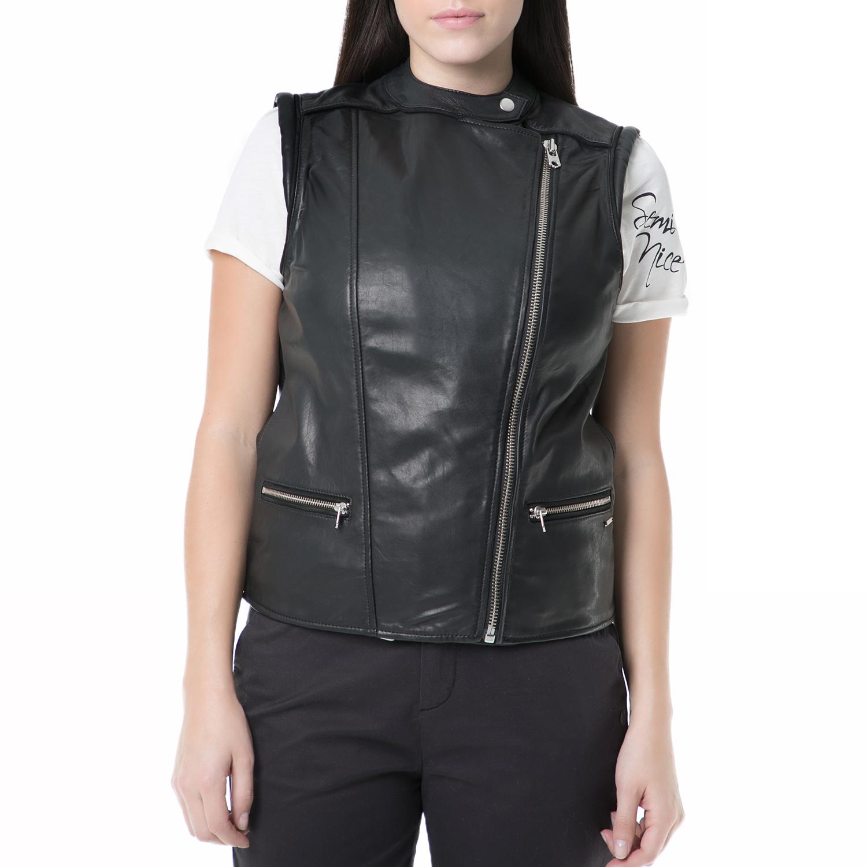 SCOTCH & SODA - Γυναικείο αμάνικο δερμάτινο jacket Scotch & Soda μαύρο γυναικεία ρούχα πανωφόρια αμάνικα μπουφάν