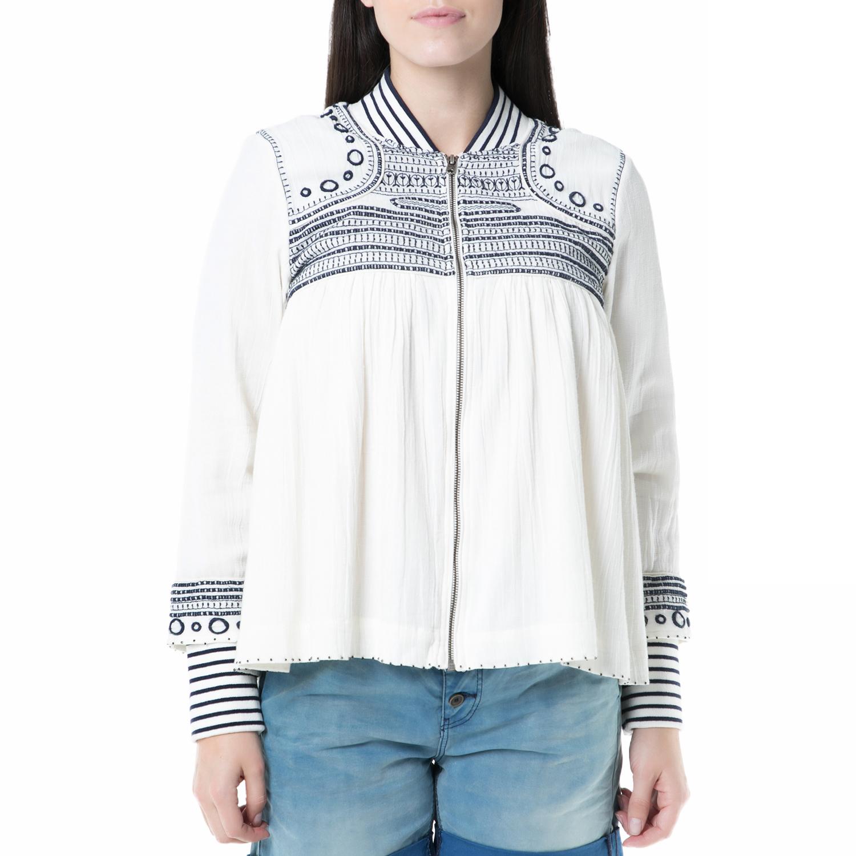 SCOTCH & SODA - Γυναικείο σακάκι με φερμουάρ και print Scotch & Soda ημίλευκο γυναικεία ρούχα πανωφόρια σακάκια
