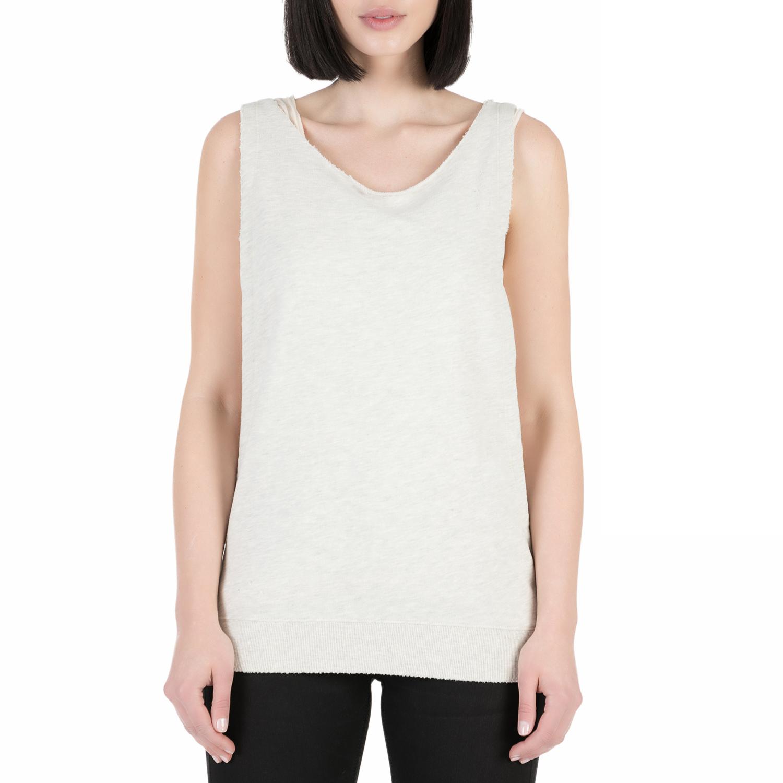 SCOTCH & SODA - Γυναικεία αμάνικη μπλούζα Scotch & Soda 2 in 1 style εκρού γυναικεία ρούχα μπλούζες αμάνικες