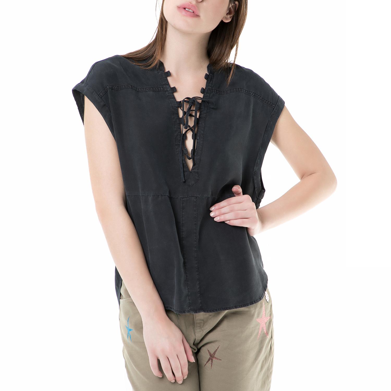 SCOTCH & SODA - Αμάνικη μπλούζα SCOTCH & SODA μαύρη γυναικεία ρούχα μπλούζες αμάνικες