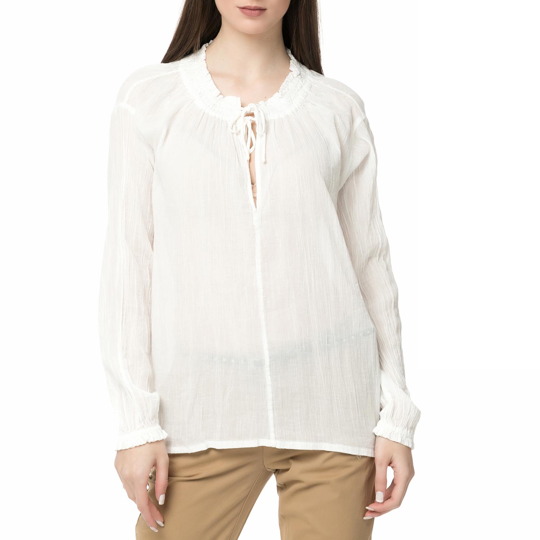 SCOTCH & SODA - Γυναικεία μακρυμάνικη μπλούζα Scotch & Soda Home Alone εκρού γυναικεία ρούχα μπλούζες μακρυμάνικες