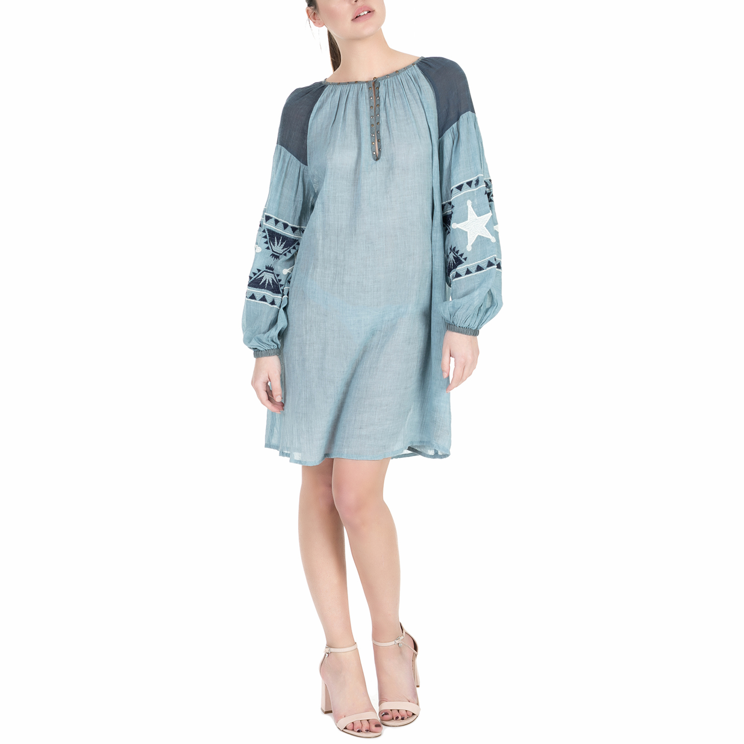 SCOTCH & SODA - Γυναικείο φόρεμα Scotch & Soda Sheer cotton tunic dress μπλε