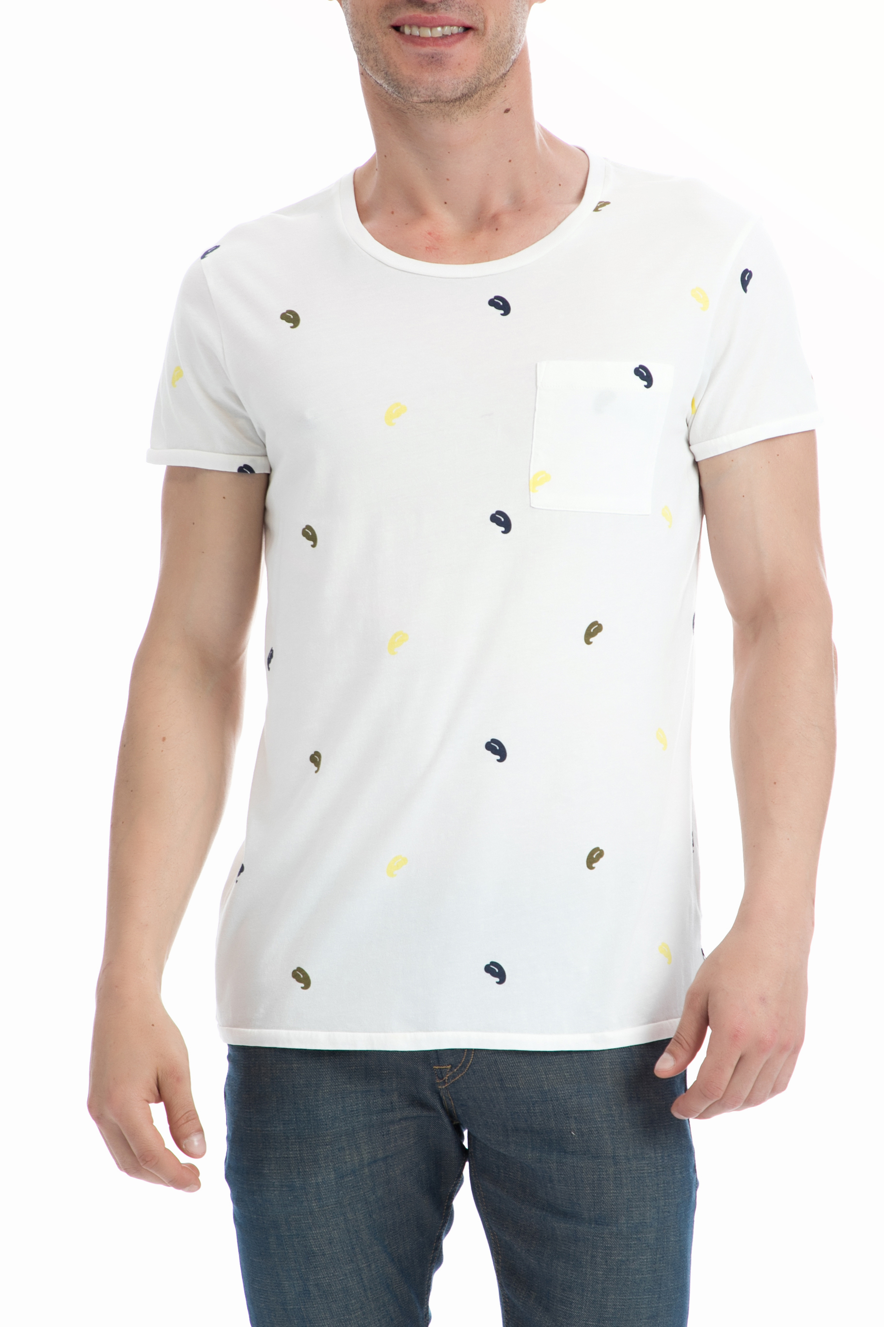 SCOTCH & SODA - Ανδρική μπλούζα SCOTCH & SODA λευκή ανδρικά ρούχα μπλούζες κοντομάνικες