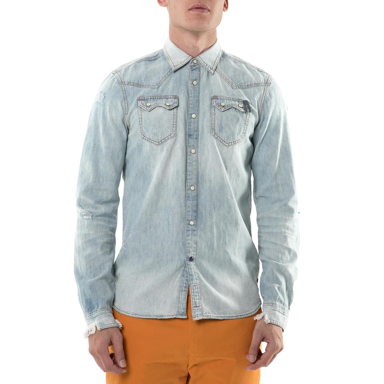 SCOTCH & SODA - Ανδρικό τζιν πουκάμισο Ams Blauw denim sawtooth Scotch & Soda ανδρικά ρούχα πουκάμισα μακρυμάνικα