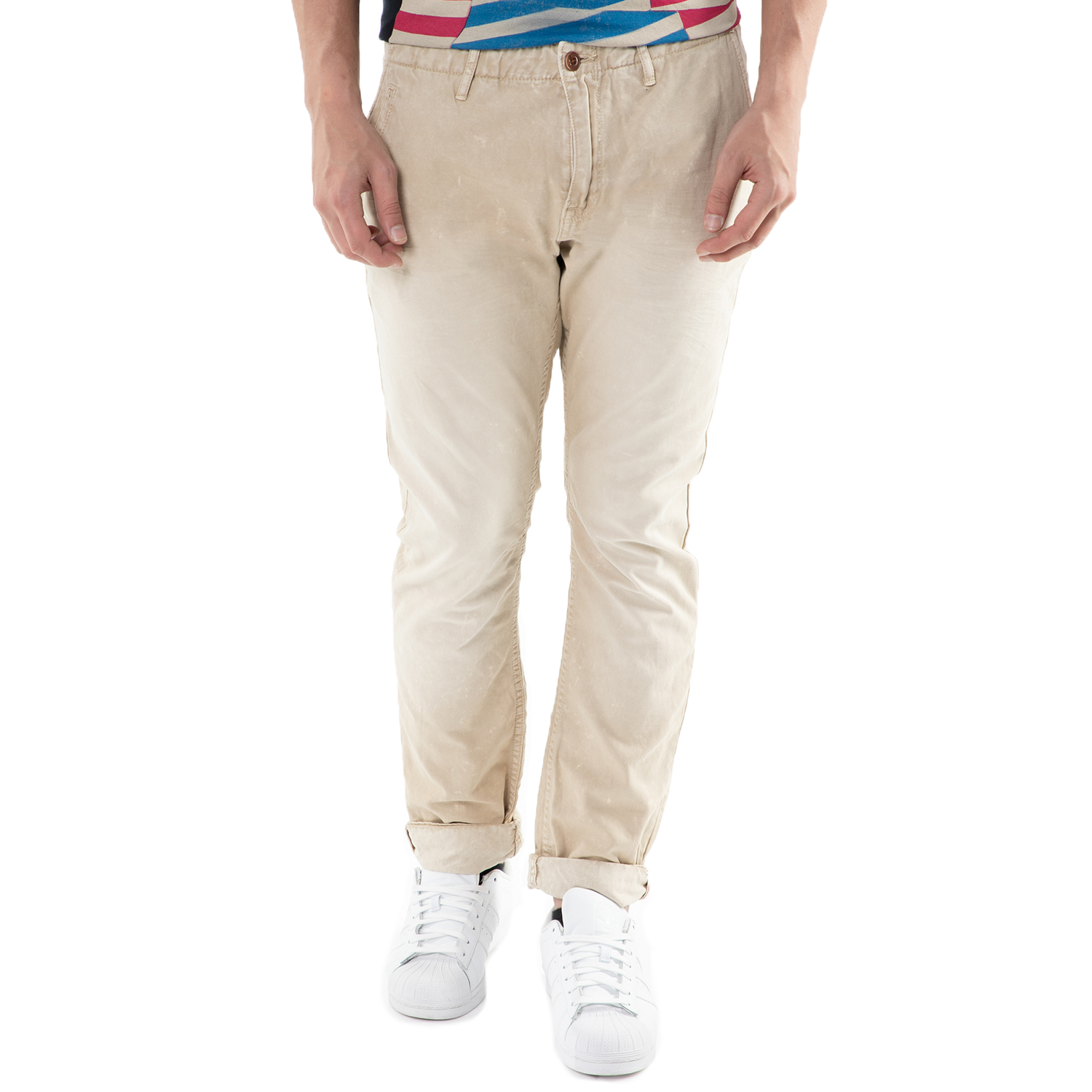 SCOTCH & SODA - Ανδρικό chino μπεζ παντελόνι Scotch & Soda Theon in garment dyed