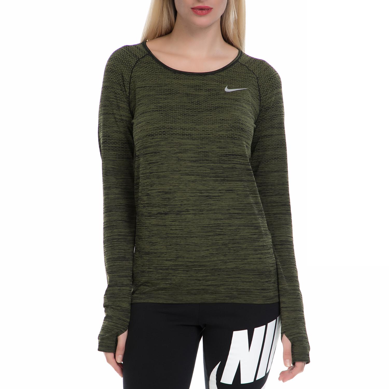 NIKE - Γυναικεία αθλητική μπλούζα NΙKΕ DF KNIT TOP χακί-μαύρη γυναικεία ρούχα αθλητικά φούτερ μακρυμάνικα