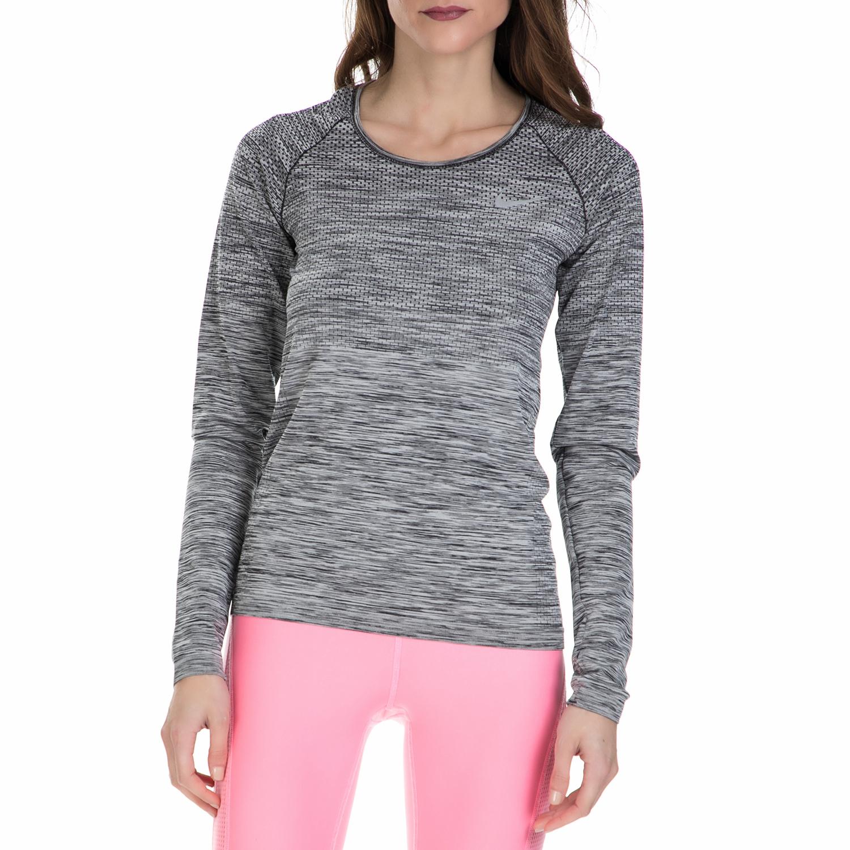 NIKE - Γυναικεία αθλητική μπλούζα Nike γκρι γυναικεία ρούχα αθλητικά φούτερ μακρυμάνικα