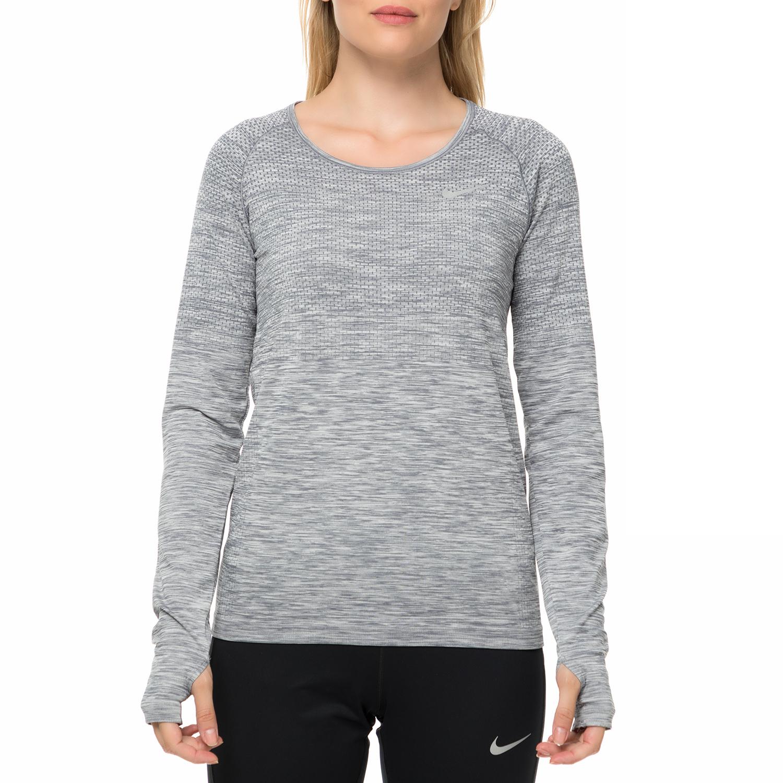512ebe81f3df NIKE - Γυναικεία αθλητική μακρυμάνικη μπλούζα NIKE DF KNIT TOP LS γκρι