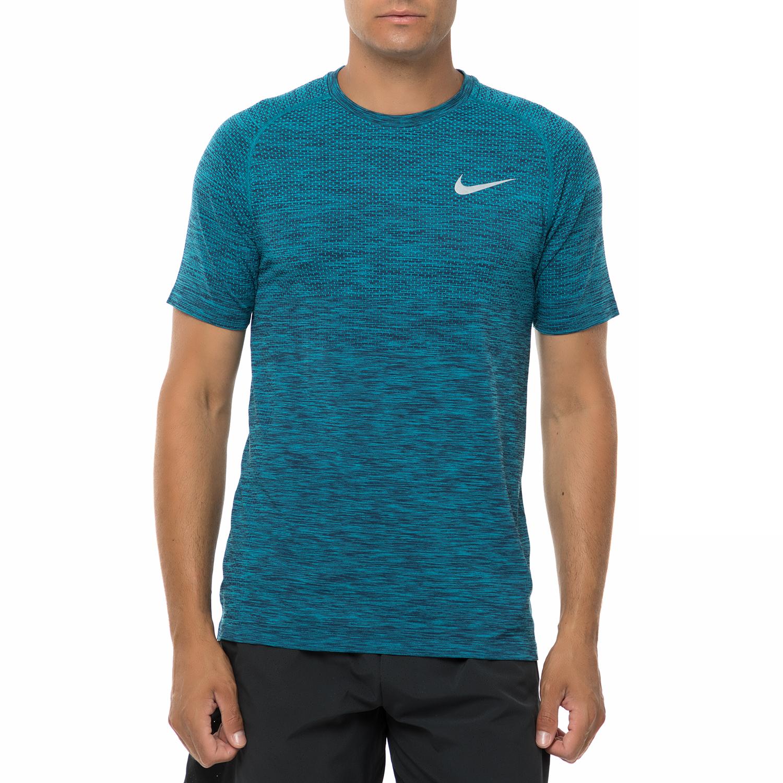 NIKE - Ανδρική αθλητική κοντομάνικη μπλούζα Nike DF KNIT μπλε ανδρικά ρούχα αθλητικά t shirt
