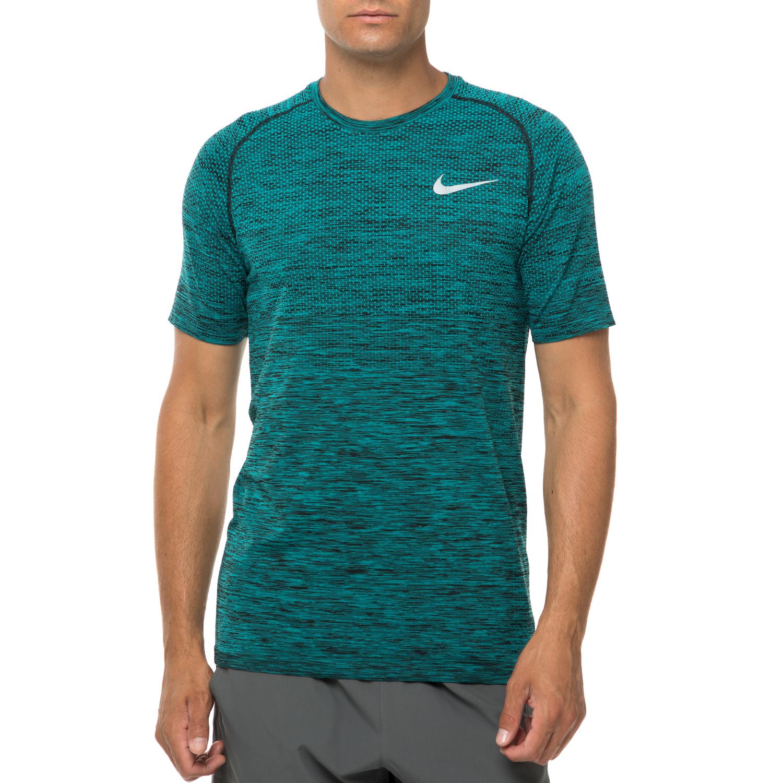NIKE - Ανδρική αθλητική κοντομάνικη μπλούζα Nike DF KNIT πράσινη ανδρικά ρούχα αθλητικά t shirt
