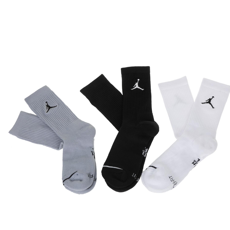 NIKE - Σετ από 3 ζευγάρια ψηλές κάλτσες JORDAN EVRY MAX CREW μαύρες-λευκές-γκρι γυναικεία αξεσουάρ κάλτσες