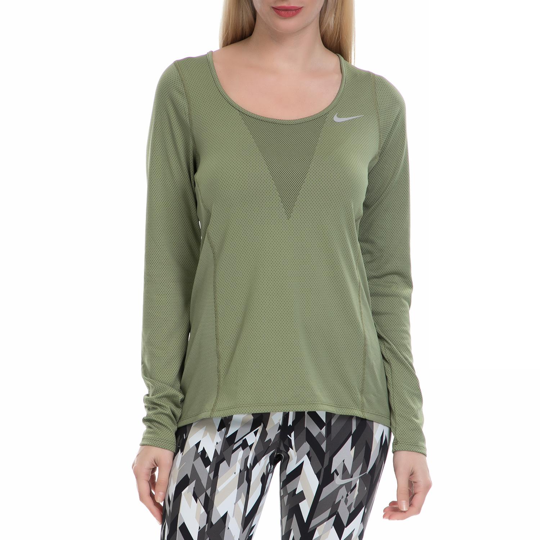 NIKE - Γυναικεία αθλητική μπλούζα NΙKΕ ZNL CL RELAY TOP LS χακί γυναικεία ρούχα αθλητικά φούτερ μακρυμάνικα