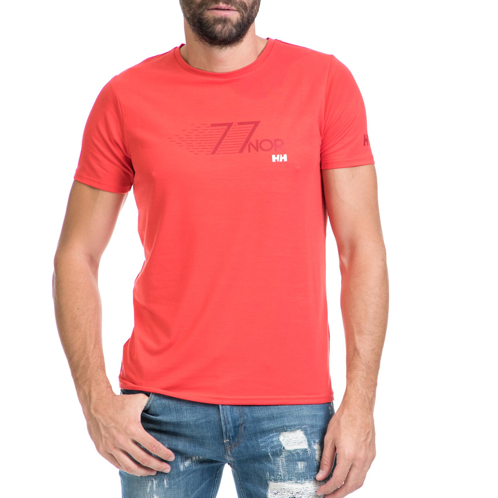 HELLY HANSEN - Ανδρική μπλούζα SHORE κόκκινη ανδρικά ρούχα αθλητικά t shirt