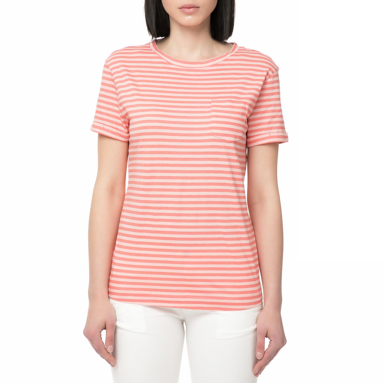 6e37c72f0a50 HELLY HANSEN - Γυναικείο ριγέ t-shirt HELLY HANSEN NAIAD λευκό-ροζ