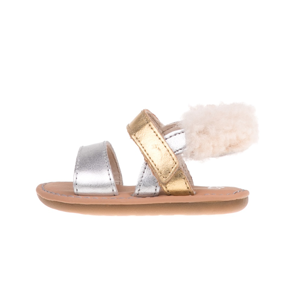 UGG - Βρεφικά πέδιλα UGG Dorien Metallic ασημί-χρυσά παιδικά baby παπούτσια πέδιλα σανδάλια