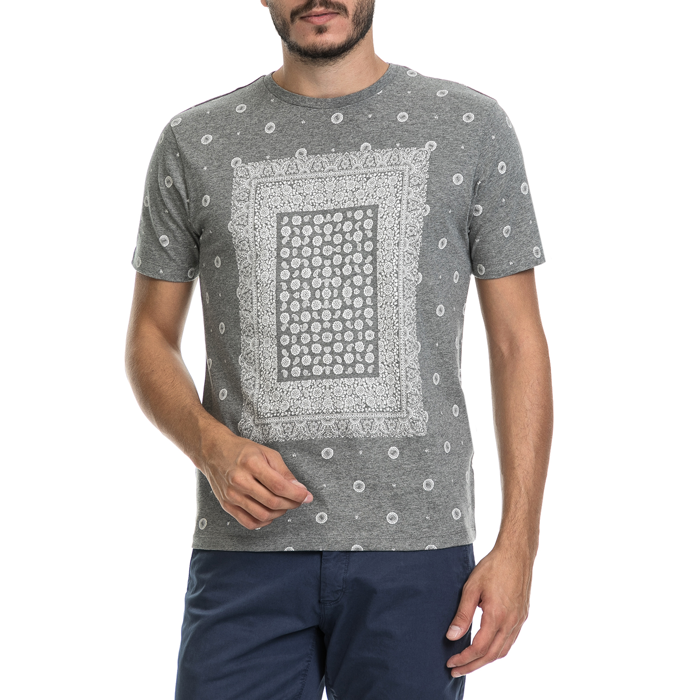 BEN SHERMAN - Ανδρική μπλούζα BANDANA PRINT BE SHERMAN γκρι ανδρικά ρούχα μπλούζες κοντομάνικες