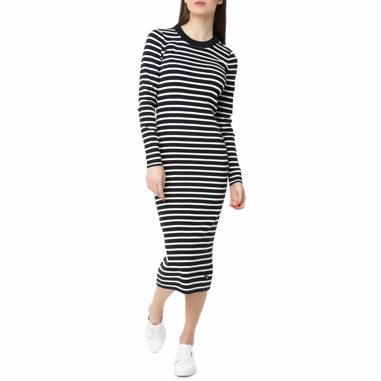 ca212283f4b8 G-STAR RAW - Γυναικείο midi φόρεμα Exly stripe G-STAR RAW ριγέ