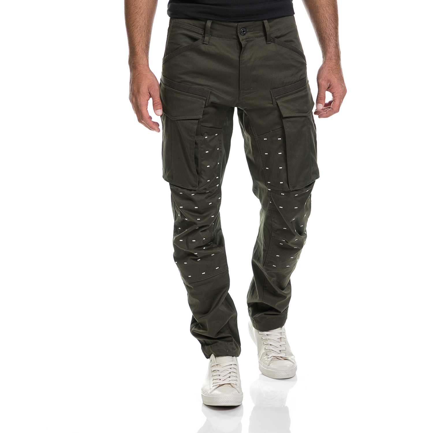 G-STAR - Ανδρικό παντελόνι Rovic 3D tapered G-STAR RAW χακί ανδρικά ρούχα παντελόνια cargo