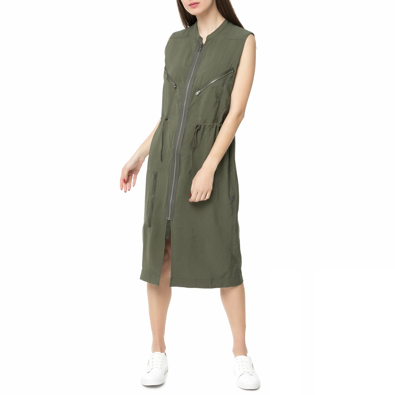 G-STAR RAW - Γυναικείο αμάνικο midi φόρεμα Powel G-STAR RAW πράσινο σκούρο γυναικεία ρούχα φορέματα μέχρι το γόνατο