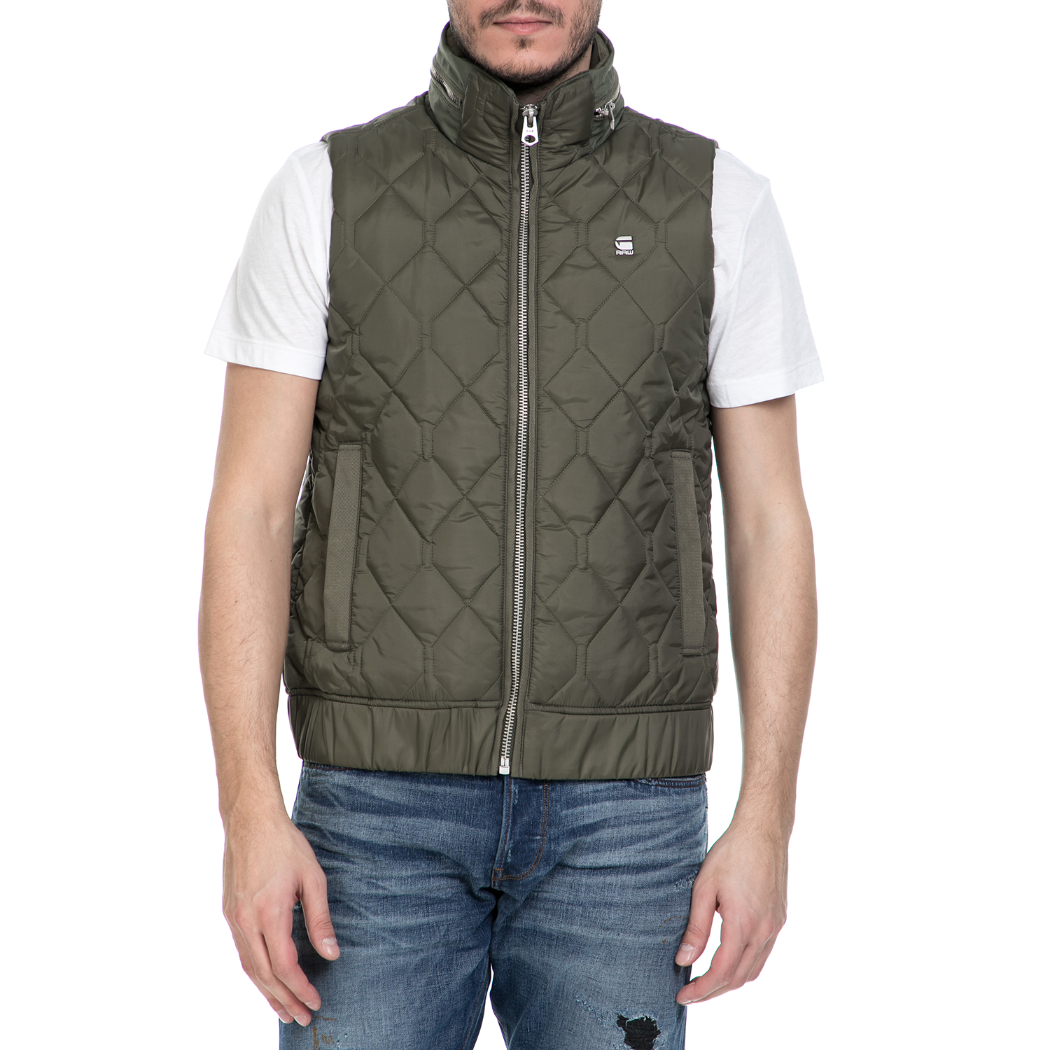 G-STAR RAW - Ανδρικό αμάνικο μπουφάν G-Star Raw Meefic quilted χακί ανδρικά ρούχα πανωφόρια γιλέκα