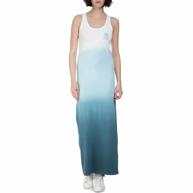 254d71bf4638 FRANKLIN   MARSHAL - Γυναικείο μακρύ φόρεμα Franklin   Marshall γαλάζιο -  λευκό