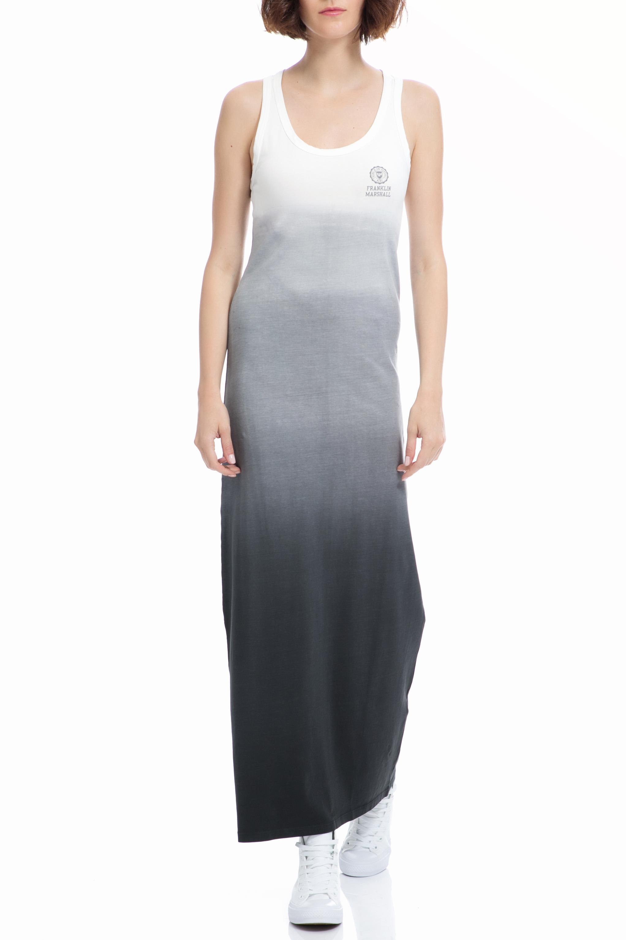 FRANKLIN & MARSHALL - Γυναικείο φόρεμα Franklin & Marshall λευκό-γκρι