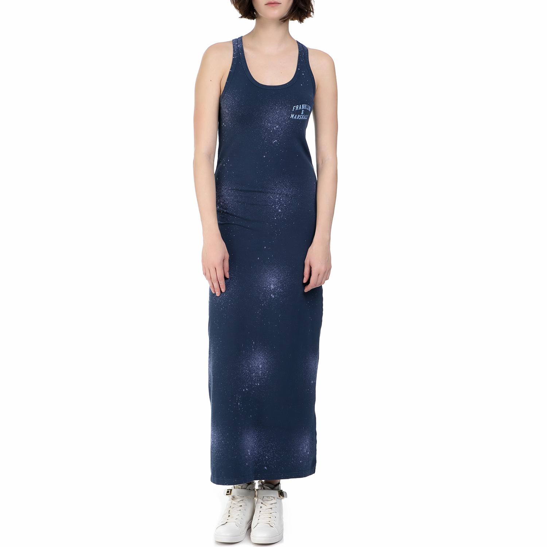 FRANKLIN & MARSHALL - Γυναικείο μακρύ φόρεμα Franklin & Marshall μπλε γυναικεία ρούχα φορέματα μάξι