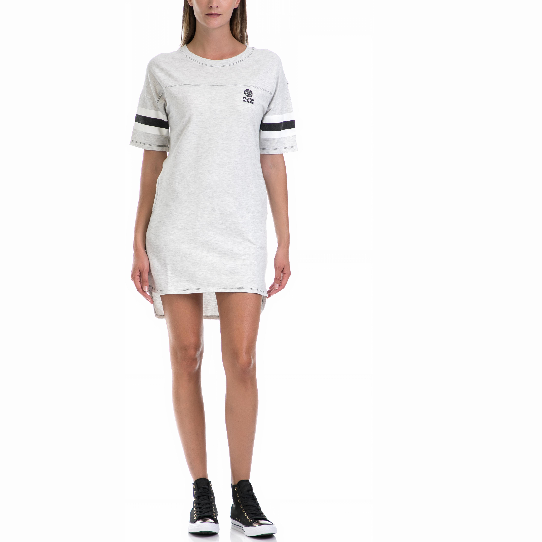 FRANKLIN & MARSHALL - Γυναικείο φόρεμα Franklin & Marshall εκρού γυναικεία ρούχα φορέματα μίνι